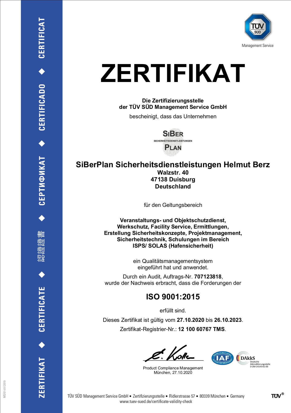 ISO 9001 Zertifikat von SiBerPlan Sicherheitsdiesntleistungen Helmut Berz
